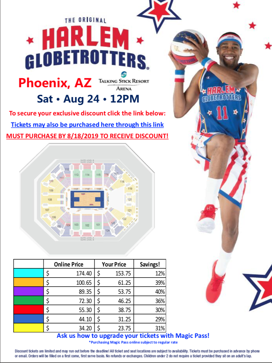 Harlem Globe Trotters Coming to Phoenix - Flyer